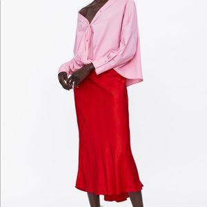 Zara red medium satin skirt a line skirt flowy